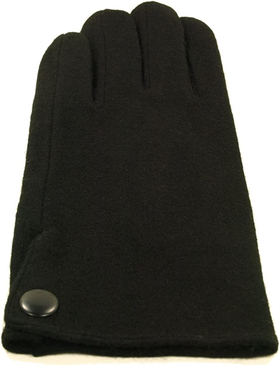 Classic Mens Solid Black Wool Gloves