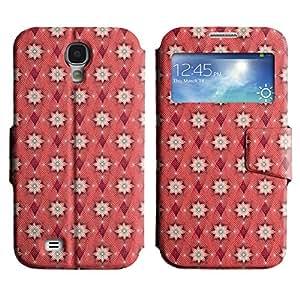 FlareStar Colour Printing cute flower Voltear PU Funda de cuero caso para SAMSUNG Galaxy S4 IV / i9500 / i9515 / i9505G / SGH-i337 IV / i9500 / i9515 / i9505G / SGH-i337