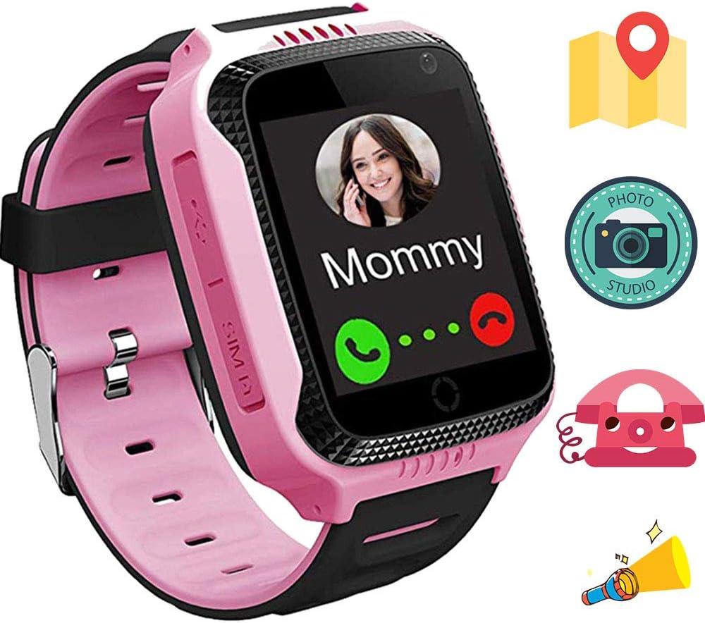 1.44 Pulgadas Touch Kids GPS Tracker Smart Watch SOS Reloj Pulsera para Niños Chicos Reloj Niños Inteligente Flashlight Switch Smartwatch Niños Localizador Rastreador GPS Niños M05 Rosa