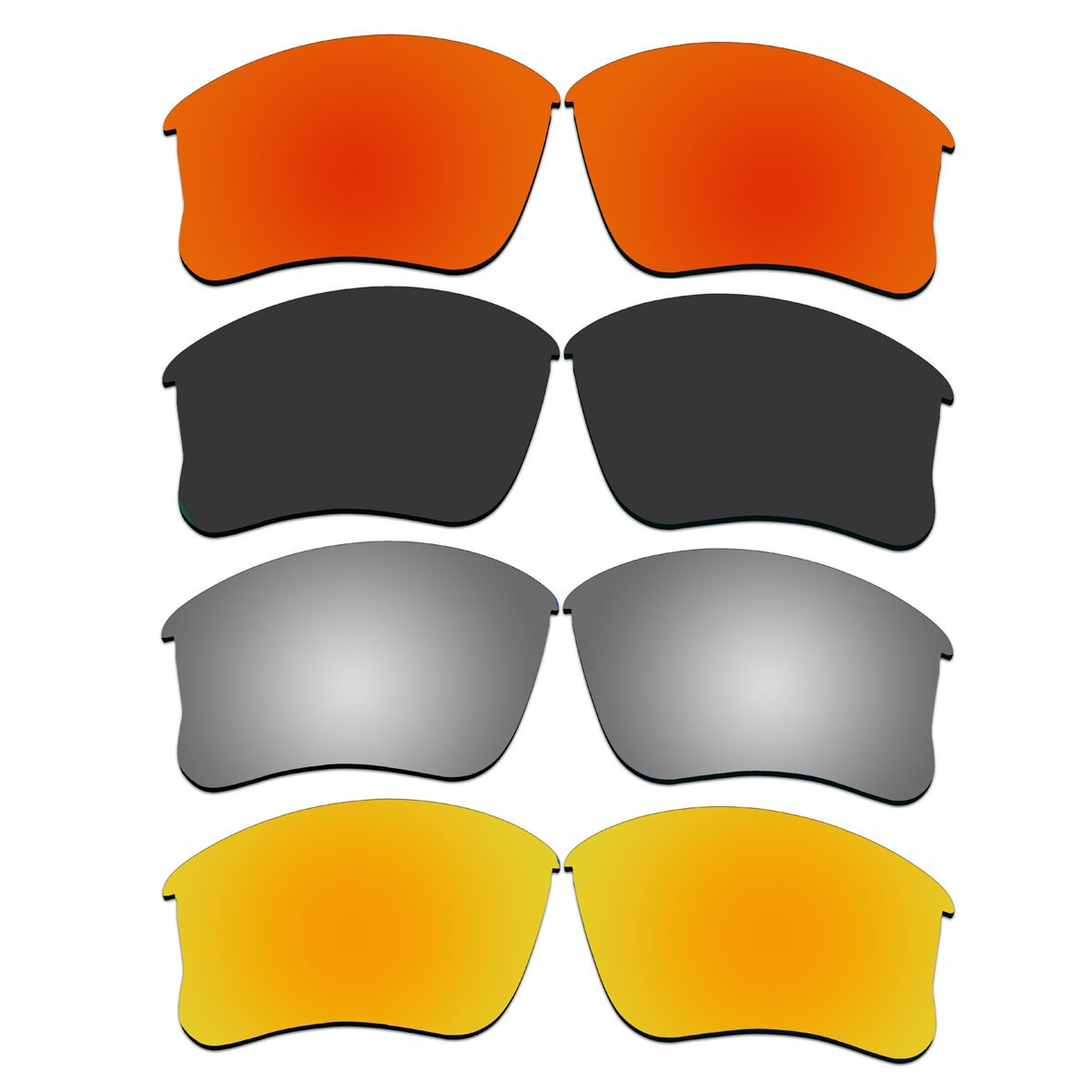 4 Pair Replacement Lenses for Oakley Flak Jacket XLJ Sunglasses With Polarized Pack P10-1