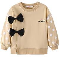 LZH Sudaderas para niñas pequeñas Manga Larga Dot Bowknot Túnica Pullover Blusa Camisa Algodón Tops Casuales Ropa