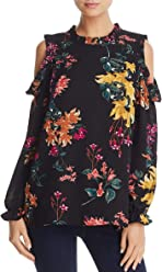 31492ae0d70b5 Cupio Womens Floral Print Cold Shoulder Blouse