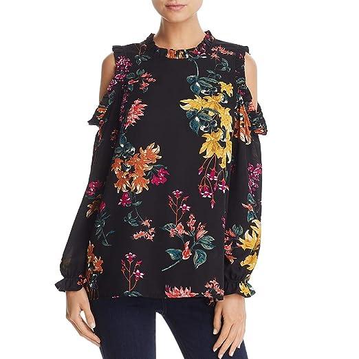 8618d0a0a48a7 Cupio Womens Floral Print Cold Shoulder Blouse at Amazon Women s ...