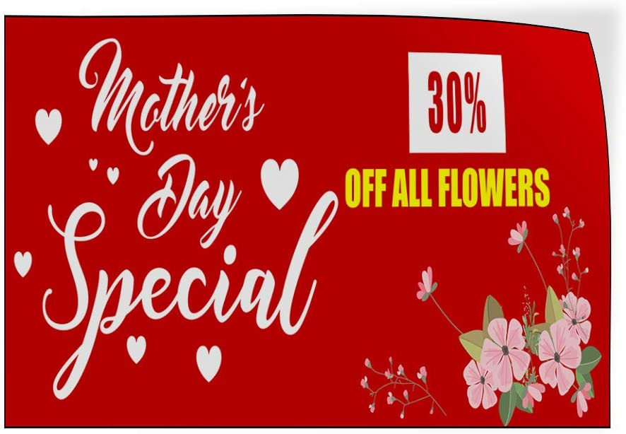 Custom Door Decals Vinyl Stickers Multiple Sizes Mothers Day Special Flowers Red Business Sale Outdoor Luggage /& Bumper Stickers for Cars Red 54X36Inches Set of 5