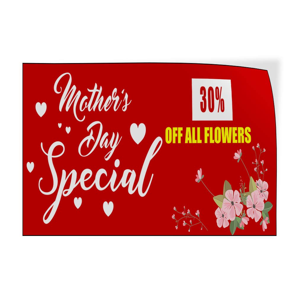 Custom Door Decals Vinyl Stickers Multiple Sizes Mothers Day Special Flowers Red Business Sale Outdoor Luggage /& Bumper Stickers for Cars Red 52X34Inches Set of 2