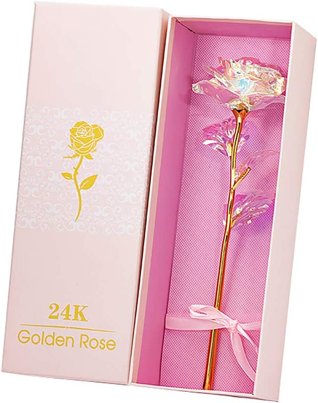 Mother/'s Day 24K Gold Foil Rose Flower LED Luminous Galaxy Valentine/'s Day Gifts