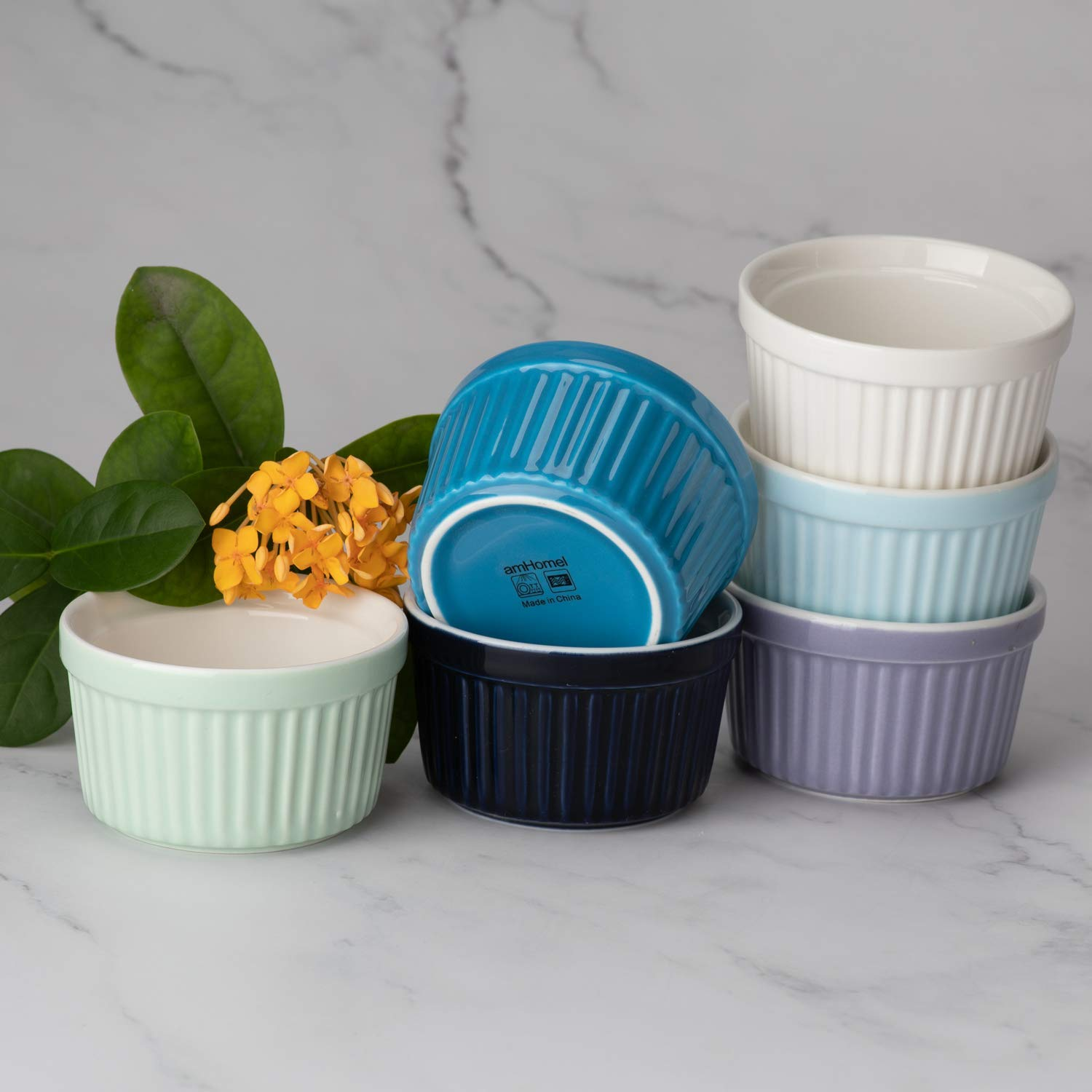 Set of 6 Cold Assorted Color 8 OZ Baking Cups Creme Brulee and Ice Cream amHomel Porcelain Souffle Dishes Ramekins Bakeware Set