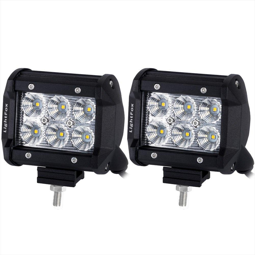 Amazon.com: Lightfox 2Pcs 4Inch 18W Flood Cree LED Light Bar ...