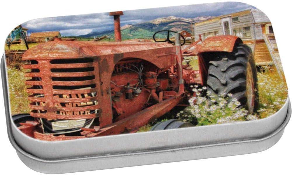 TT00017199 Aufbewahrungsbox Stamp Press 110mm x 80mm Alter roter Traktor Blechdose