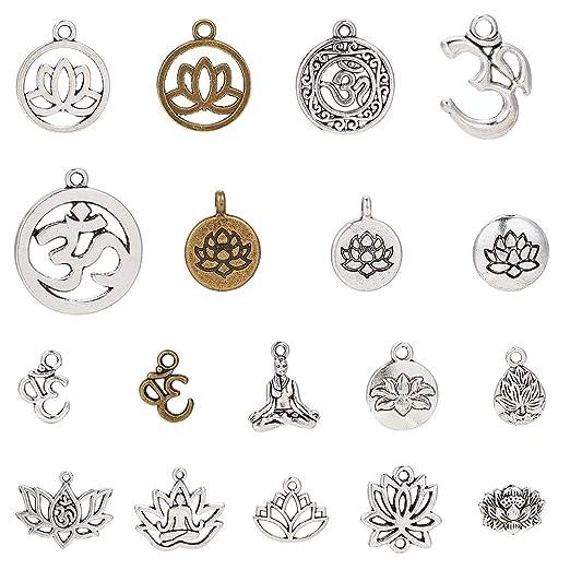 SUNNYCLUE 54 unids 18 Estilo Mixto Lotus Yoga OM Ohm Flor Encantos Colgantes Joyas Hallazgos Accesorios Accesorios para DIY Collar Pulsera ...
