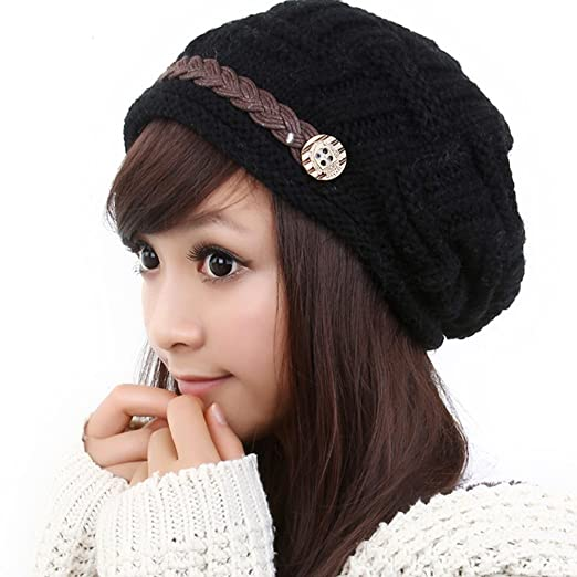 051fd0a2ebd7 LOCOMO Hats Women Cabled Checker Pattern Knit Beanie Hat Cap (Black ...