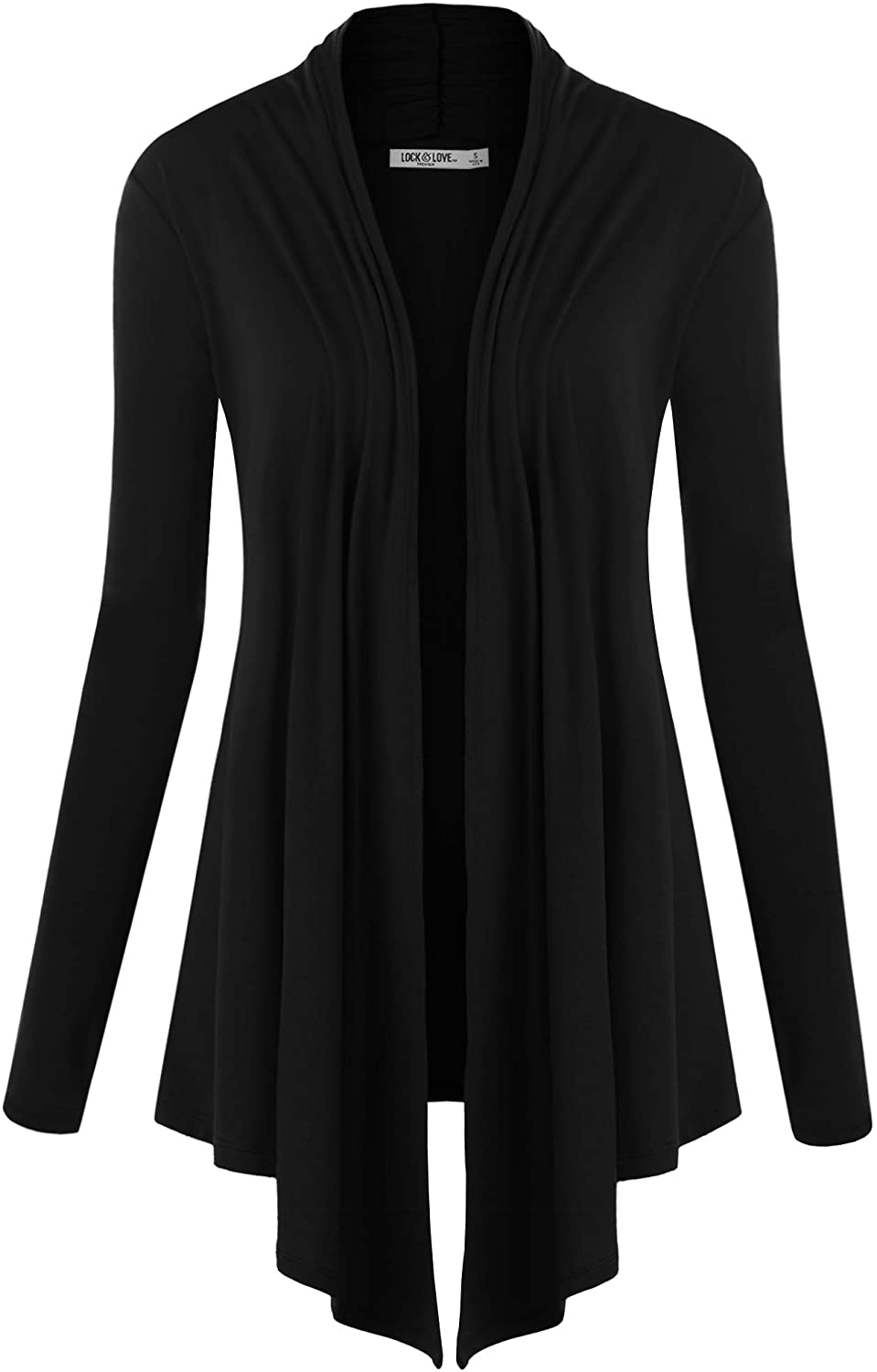 Lock and Love Women's Basic Draped Long Sleeve Open Front Knit Cardigan S - XXXL Plus Size