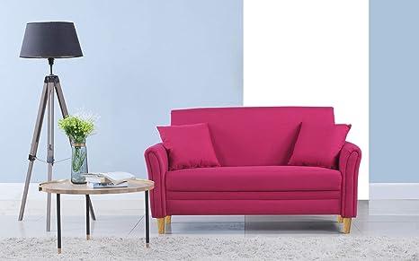 Divano Roma Furniture Modern 2 Tone Small Space Linen Fabric Loveseat (Pink)