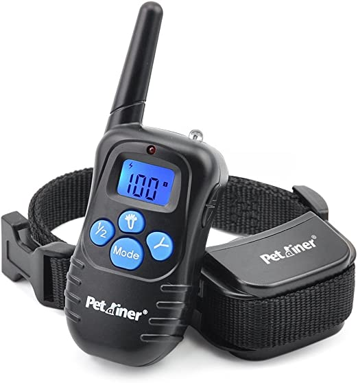 Petrainer Dog Training Collar Rechargeable and Rainproof 330yd Remote Dog Training Collar with Beep, Vibra and Static Electronic Collar