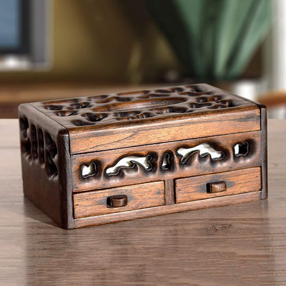 RXRENXIA Caja De Almacenamiento De Tejidos-De Madera Maciza De Múltiples Funciones, Vintage De Madera Servilleta Titular Adecuado para Escritorio ...