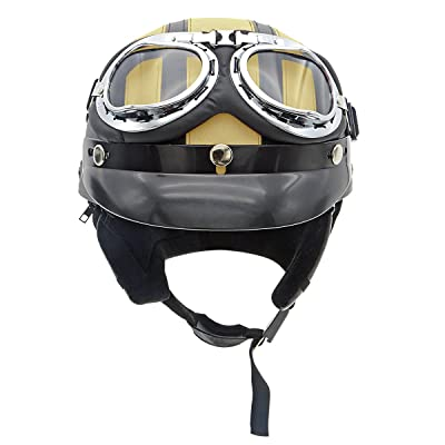 Half Face Motorbike Helmet Leather Stripe Cotton with Goggles Fashion Motorcycle Electric Bicycles Crash Helmet Men and Women Gold Large