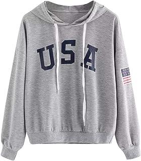 Nuove Donne Felpa con Cappuccio Lettera USA Flag Felpa Stampata con Coulisse Pullover Manica Lunga Top Maglioni Pullover Camicetta S-XL