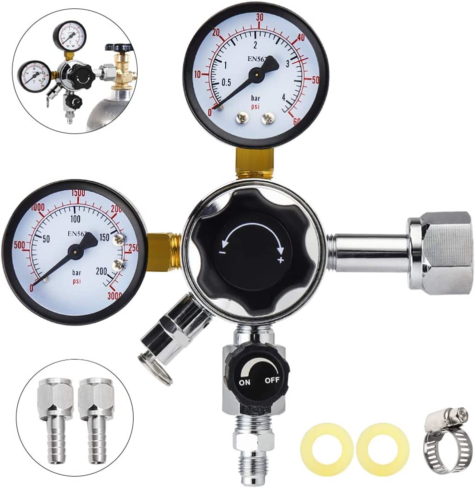 MRbrew CGA-320 Keg Regulator, Quick Disconnect CO2 Kegerator Regulator with Pressure Adjustment Knob, Beer Regulator with Safety Manual Pressure Relief Valve, with 2 Swivel Nut & 1/4'' & 5/16'' Barbs