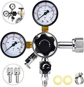 MRbrew CGA-320 Keg Regulator, Quick Disconnect CO2 Kegerator Regulator with Pressure Adjustment Knob, Beer Regulator with Safety Manual Pressure Relief Valve, with 2 Swivel Nut & 1/4'' & 5/16'' Barbs