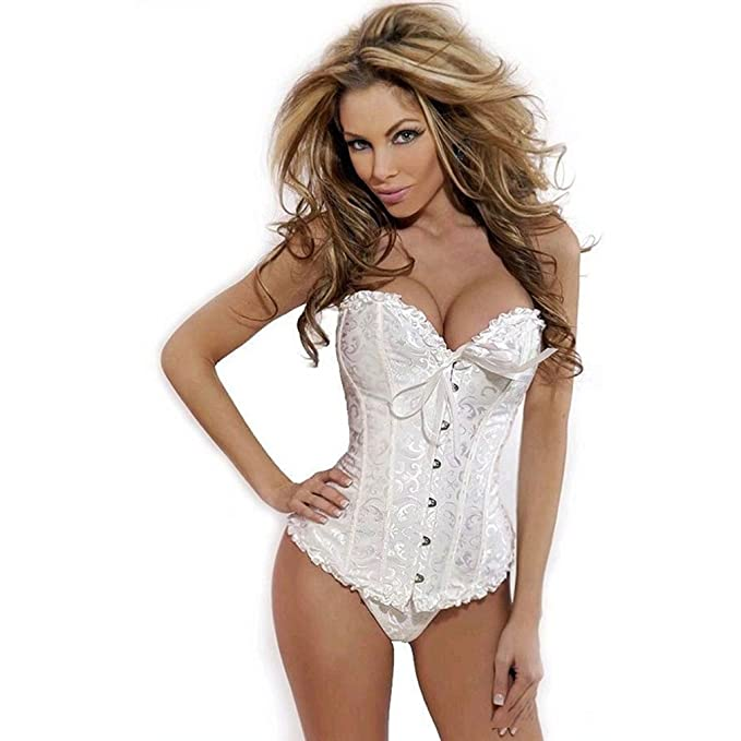 The New European Palace Style Corset Hot Sexy Women's Wedding Dress  Underwear-White (3XL