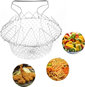 Shebaking Stainless Steel Fry Basket with Folding Handles, Wide Deep Fry Basket for Pasta, Frying, and Salads Cooking Net Tool