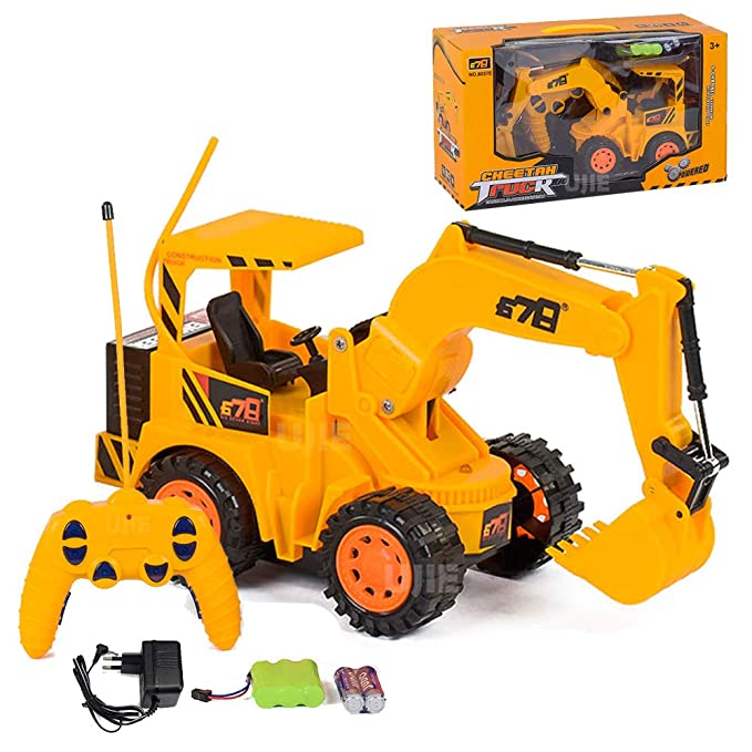 UJIE® Wireless Rechargeable Remote Control Truck Excavator Engineering Construction Vehicle with Light (Yellow