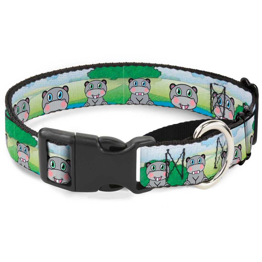 Buckle-Down Hippo Cartoon Martingale Dog Collar, 1  Wide-Fits 11-17  Neck-Medium