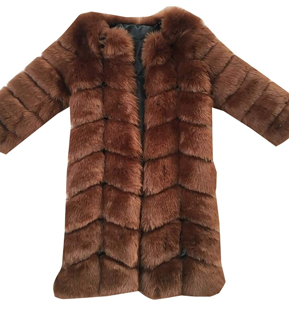 Coffee Esast Womens Faux Fur Coat Parka Jacket Trench Long Thick Winter Warm Overcoat