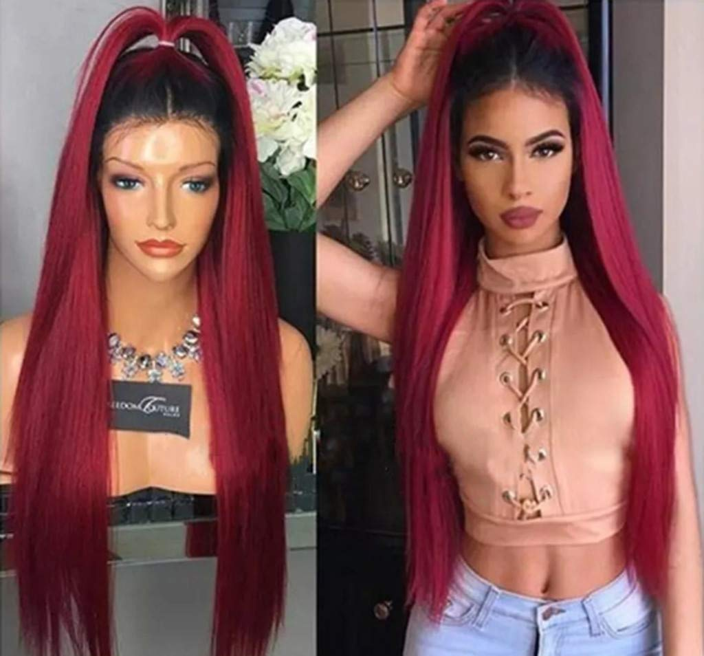 Clearance! Long Straight Human Hair Real Lace Front Unit Ombre Red Wig for African Black Women Synthetic Fiber Heat Resistant Costume Party Full Wigs (Red) by Inkach - Womens Wigs