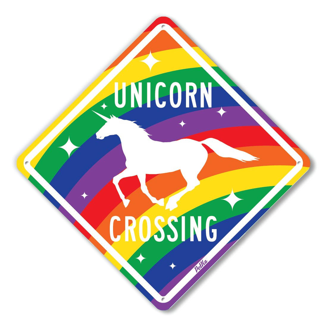 PetKa Signs and Graphics PKAC-0010-NA_10x10''Unicorn Crossing'' Aluminum Sign, 10'' x 10'', White on Rainbow