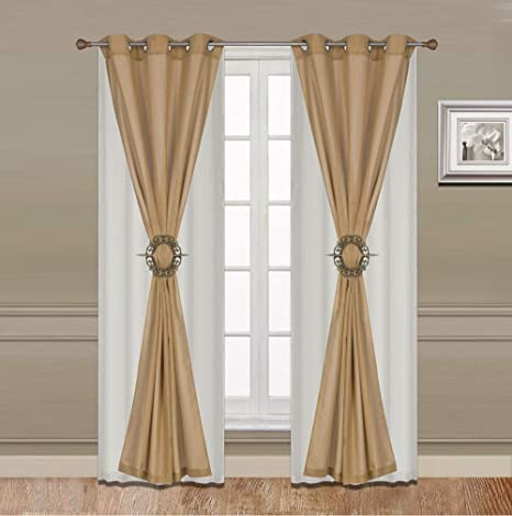 Curtain Set 6 Piece Turquoise Grommet Faux Silk With Grommet Sheer And Hold Back