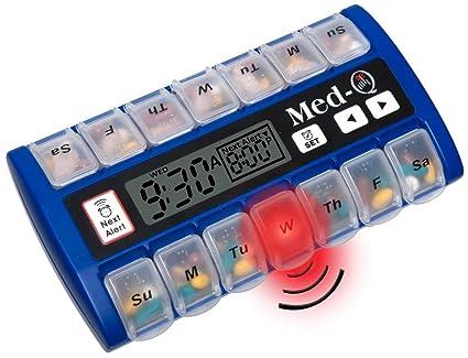 med-q único bip recordatorio automático dispensador de medicamentos azul píldora caja