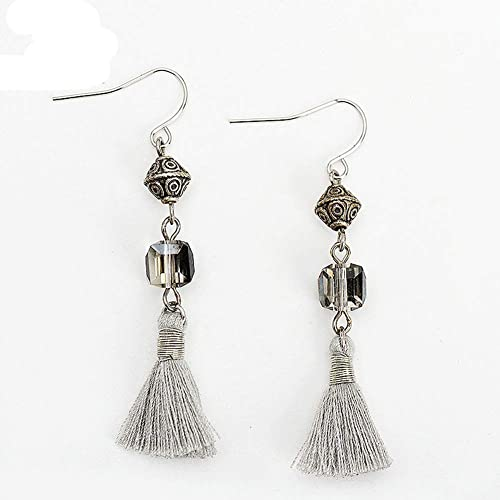 43190c6b6 Amazon.com: Women Boho Tassel Drop Earrings Vintage Pattern Beaded Pendant  Gray Thread Dangle Earrings Jewelry: Handmade