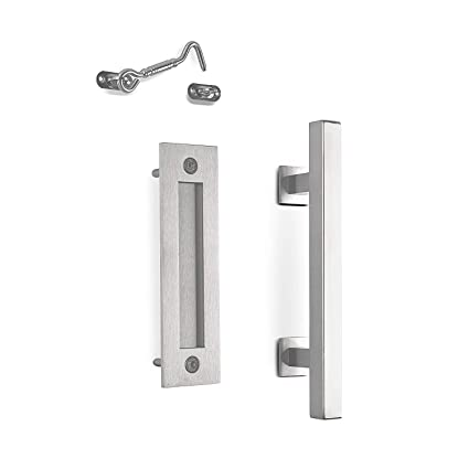Phenomenal Mjc Company 12 Square Modern Sliding Barn Door Handle Pull Flush Combo And Privacy Lock Interior Exterior Hardware Set Stainless Steel For Download Free Architecture Designs Rallybritishbridgeorg