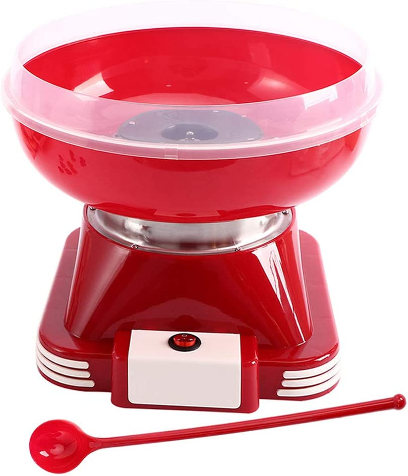Cotton Candy Machine Red Cotton Candy Maker for Kids Mini Electric Hard Candy Sugar Free Candy Sugar Floss Maker with Sugar Scoop for Kids Parties Holidays