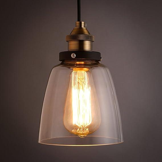 Industrie Stil Retro Einfache Eisen Glass Lampenschirm Pendelleuchte