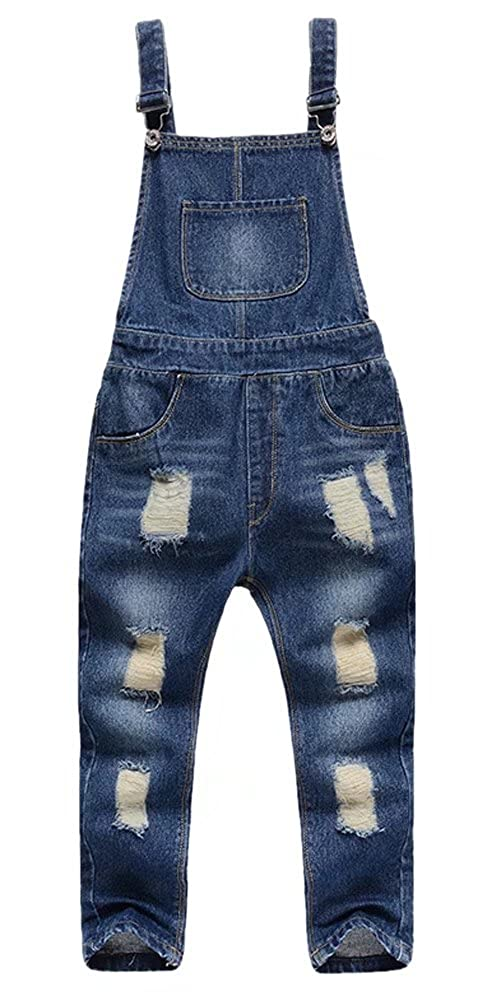 BINPAW Kids Unisex Ripped Overall Jeans