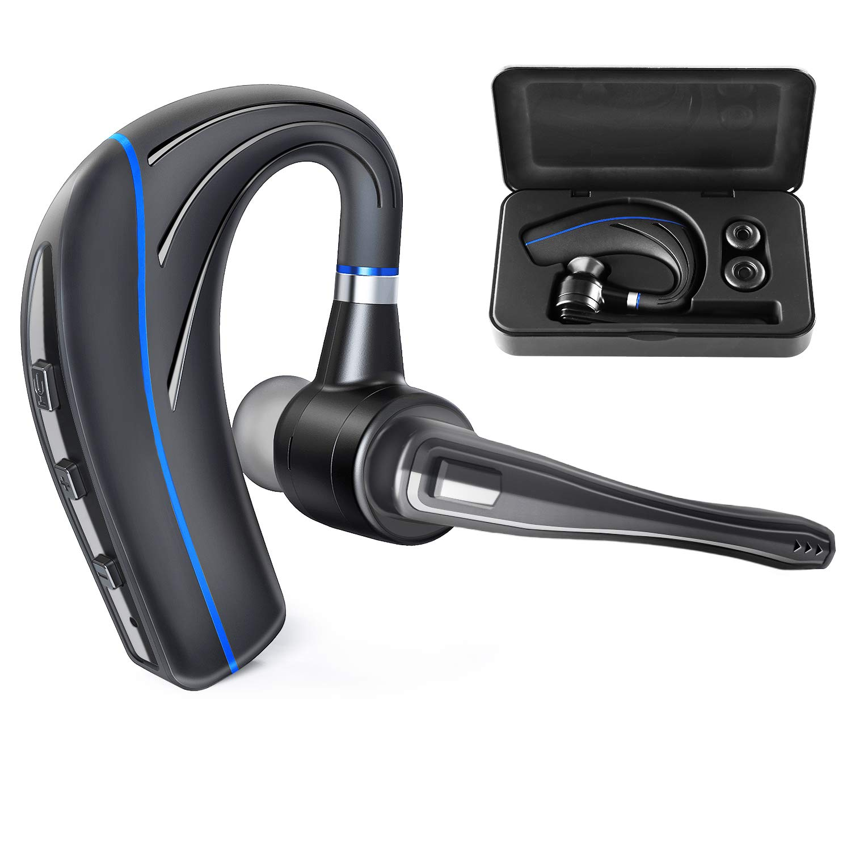 Bluetooth Headset HONSHOOP Bluetooth 5.0 Noise Reduction Bluetooth Earpiece in Ear Wireless Headphones Mic Earphones Business/Workout/Driving Black Blue Pro