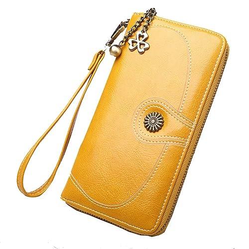 Carteras Mujer Piel Monederos De Mujer Queador Billeteras Larga Cartera para Mujer con Gran Capacidad (