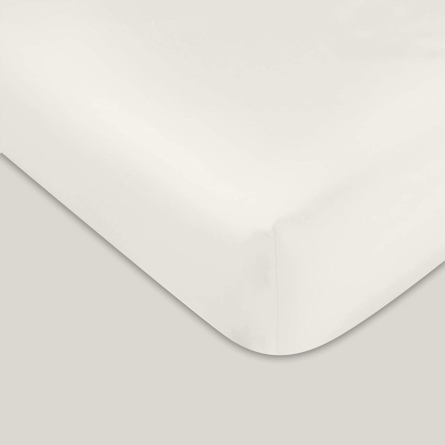 """400 TC GOTS Certified 100% Organic Cotton Queen Sateen Weave Fitted Sheet - Fits Mattress Up to 16"""" Deep Pocket - Supremely Soft & Shiny Close to Nature Biodegradable Sheet - Ivory - Queen Fitted"""