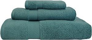 SUPERIOR Zero Twist 100% Cotton Towel Set - 3-Piece Set, Extra Soft Bath Towel, Face Towel and Hand Towel, Long-Staple Cotton Towels, Jade