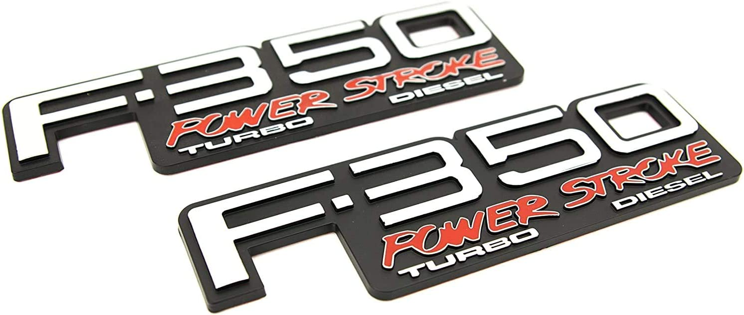 2Pcs F-350 Power Stroke Turbo Diesel Side Fender 3D Emblem Badge Nameplate Powerstroke Replacement for F350 Super Duty 92-98 Black Red