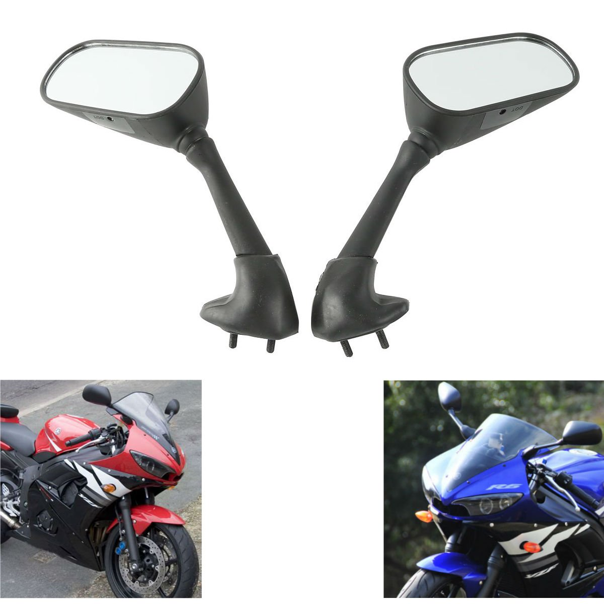 MZS Motorcycle Rear View Mirrors for Yamaha YZF R1 1998-2008, YZF R6 1998-2007 RN01 RN04 RN09 RN12 RJ03 RJ05 RJ09 RJ11
