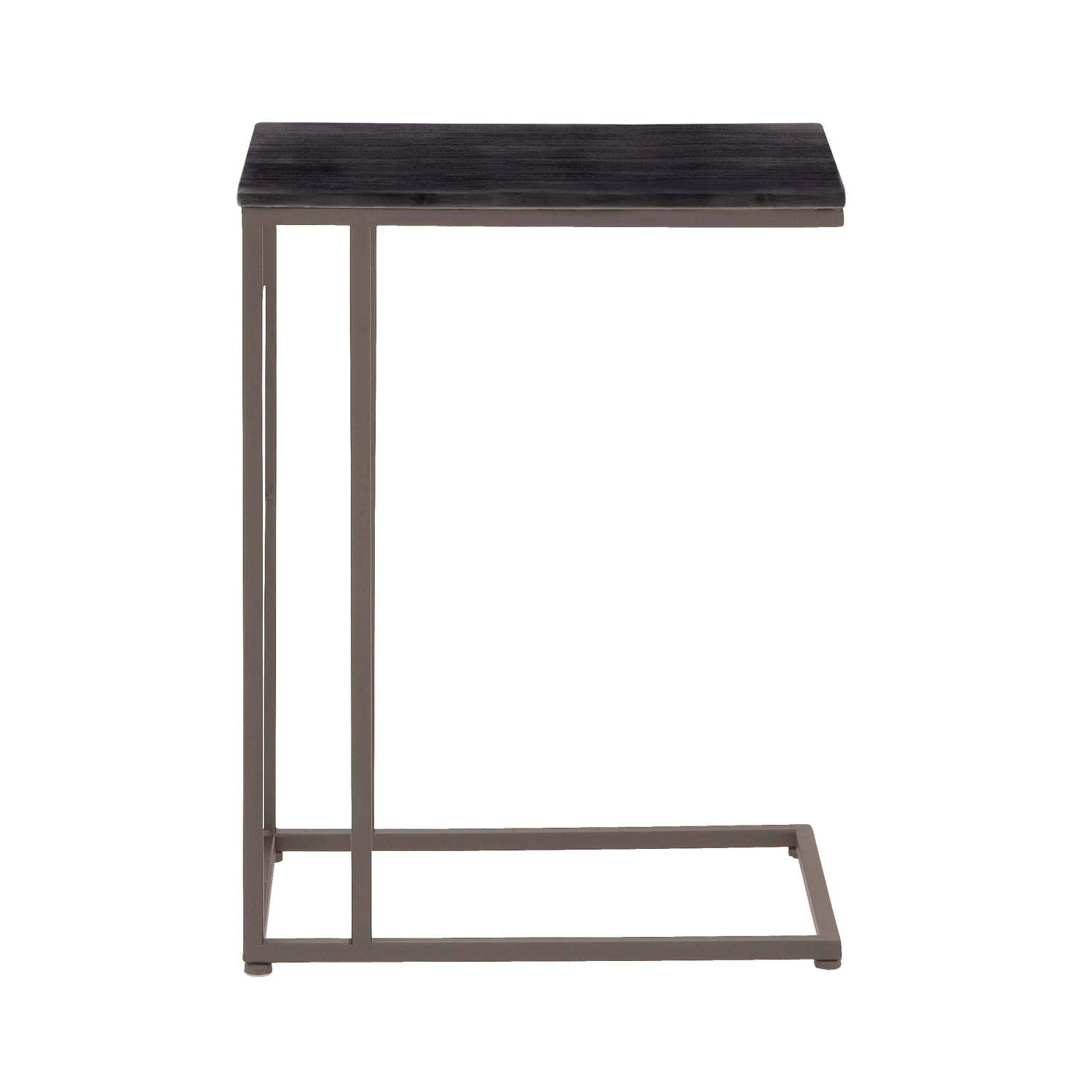 Deco 79 58634 Brushed Iron and Wood Rectangular Accent Table, 26 x 19, Black/Gray 26 x 19