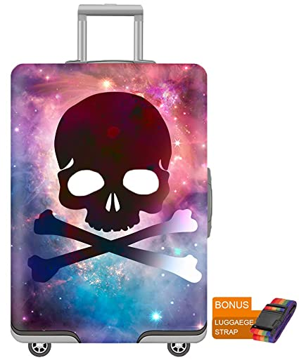 Baggage Covers Skull Head Gothic Black Blue Washable Protective Case