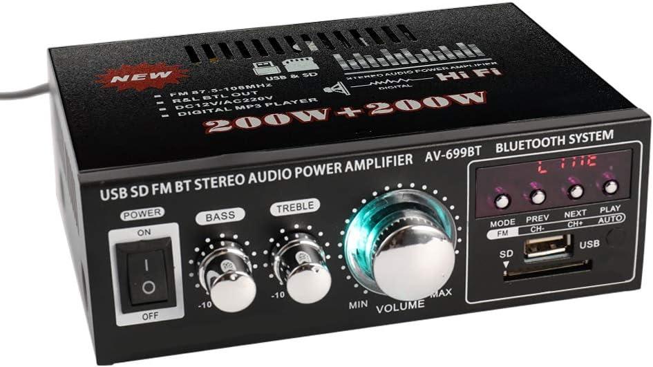 Docooler 12V/220V Mini Pantalla LCD de 2CH HiFi Audio Estéreo Amplificador de Potencia BT FM Radio Portátil Auto Home 400W, Mando a Distancia Audio Amplificador