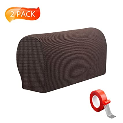 Anti Slip Spandex Armrest Cover For Leather Sofa Stretchy Polyester Double Layer Thick Fabric Recliner Armchair Couch Slipcover Furniture Protector