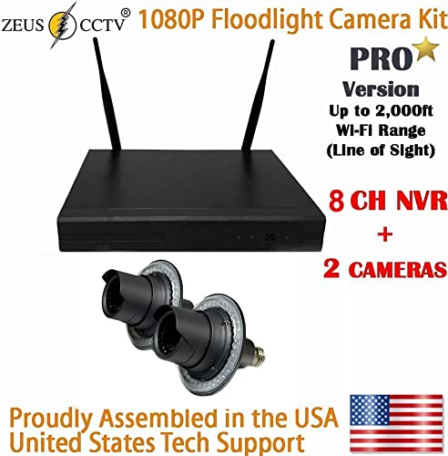 ZEUS CCTV 8 channels standalone Pro Wi-Fi NVR system 2 twist in Pro floodlight surveillance security cameras Complete Install Kit with Hard Drive Assembled in the USA
