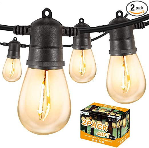 HueLiv 96 FT Outdoor String Lights, WarmWhite LED Patio Lights, 34 Bulbs, Commercial-Grade ETL Approved Waterproof Decorative Lights, Bistro Backyard Cafe, Outdoor/Indoor, 1W, 2 Pack 48FT, Christmas