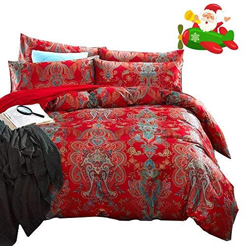 AMWAN Luxury Bohemian Style Queen Duvet Cover Set Floral Jacquard Bedding Set 3 Piece Sateen Cotton Duvet Comforter Cover Set Flower Print Romantic Wedding Duvet Cover Set Queen Bed Set, Style1